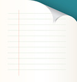 Lined paper with bent corner vector