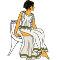 Ancient greek woman sitting on a chair colored vector