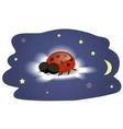 Ladybug sleeping on a cloud vector