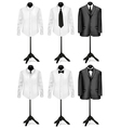 Black suit and white shirt with necktie vector