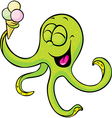 Funny octopus with ice cream isolated on white vector