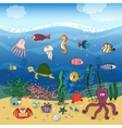 Underwater ocean life under the waves vector