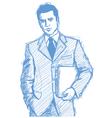 Businessman laptop vector