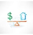 Money house balance grunge icon vector