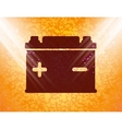 Car battery flat modern web button and space for vector