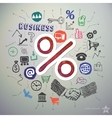 Hand drawn business icons set and sticker with vector