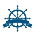 Ship wheel with banner nautical emblem vector