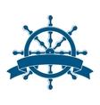 Ship wheel with banner nautical emblem vector