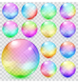 Colorful transparent glass spheres vector