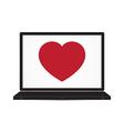 Love heart laptop computer vector