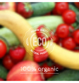Blurred background with fruits vegetables and eco vector