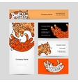 Art cats with floral ornament business cards vector