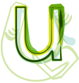 Green letter u vector