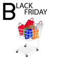 Shopping bags in black friday shopping cart vector