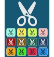 Scissors icon with color variations vector