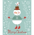 Cute snowman and bird vector
