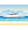Speed boat on seashore daylight vector