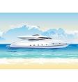 Speed boat on seashore daylight vector