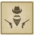 Cowboy hat and gun old background vector