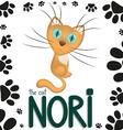 Funny cartoon cat nori vector