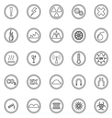 Warning sign line icons on white background vector