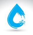 Hand painted blue water drop icon isolated on vector