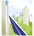 Straight road and buildings vector