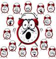 Alarm clock cartoon with many facial expressions vector