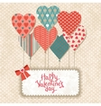 Background with balloons in the shape of heart and vector