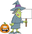 Cartoon witch holding a sign vector