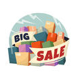 Heap of boxes with big sale text vector