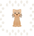 Cartoon kitty cat in frame of animal footprints vector