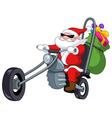 Santa with motorcycle vector