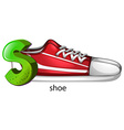 A letter s for shoe vector