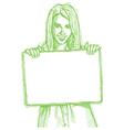 Businesswoman blank card vector