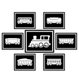 Set icons for railway transportation vector