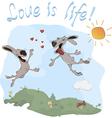 Rabbits and love postcard vector