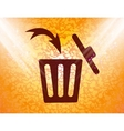 Trash bin flat modern web button and space for vector