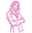 Businesswoman folded hands vector