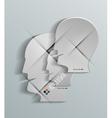 Human head 3d paper design vector