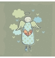 Angel on a cloud with heart vector
