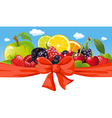 Horizontal design with fruit bow and blue sky vector