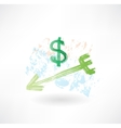 Dollar arrow grunge icon vector