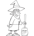 Cartoon witch holding a broom vector