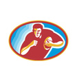 Rugby player running with ball vector