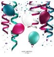 Birthday card with curling stream confetti vector
