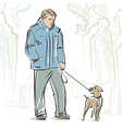 A man and dog vector