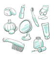 Set of cosmetic accessories vector