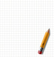 Wooden pencil with eraser lies on the notebook vector