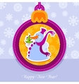 Christmas ball postcard snowman with fir-tree vector